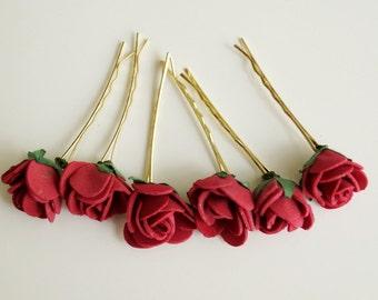 Bridal Hair Accessories, dark pink Rose, pink flower Hair Bobby Pins- set 6