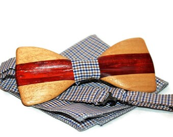 Mens wooden bow tie with pocket square. Wood Handmade BowTie. Wood bow tie. Best idea for gift.