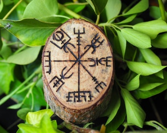 Scots Pine Vegvísir, Icelandic Compass - Altar Piece, Amulet - Rune for Direction Finding