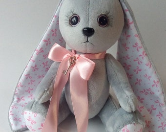Stuffed bunny with long ears Baby shower girl Birthday gift idea Plushies rabbit Soft Bunnies Handmade Gift for friend Stuffed animal Toy