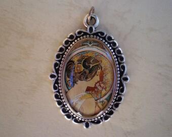 Alphonse Mucha art pendant, Alphonse Mucha art, Art Nouveau, Pendant art, Art Nouveau jewelry, Resin Jewelry, Gift for her