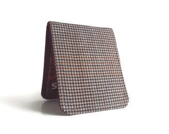 OhSoRetro Mens Wallet / Super Thin Billfold Wallet / Vintage Brown Houndstooth Wool / Non-Leather Wallet