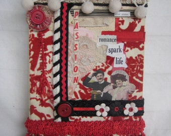 mixed media, collage,  vintage, red,  original art one of a kind, passion