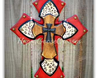 Wall Cross - Wood Cross - X-Small - Antiqued Red, Leopard/Cheetah print, with Brown Stain Layer