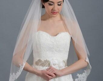 wedding veil, bridal veil, elbow length veil, alencon lace veil, wedding veil ivory