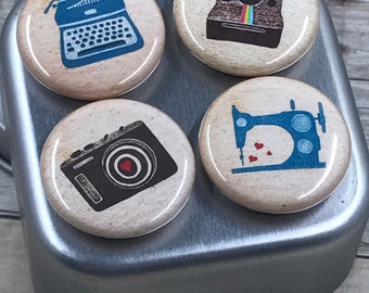 Retro Machines Magnet Set (4pk) - Typewriter - Instant Camera - 35mm Camera - Sewing Machine - Fun for Home, School, Office