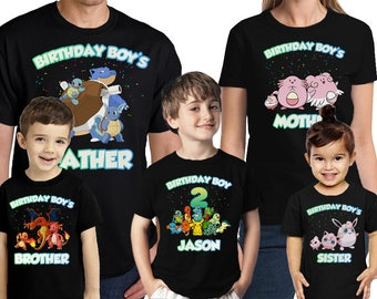 Pokemon Birthday Shirt Personalized Name and Age Customized Pokemon Birthday shirt