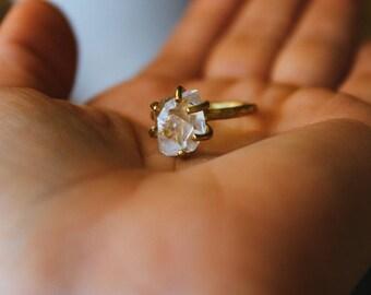 Raw Herkimer Diamond Claw Brass Ring Size 6.5