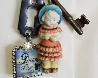Bisque doll necklace  Little girl necklace  toy bisque doll  skeleton key necklace  Statement necklace  Assemblage necklace  One of a kind