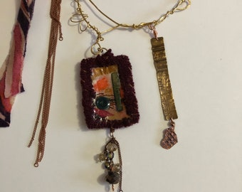 Fiber Mixed Media Pendant