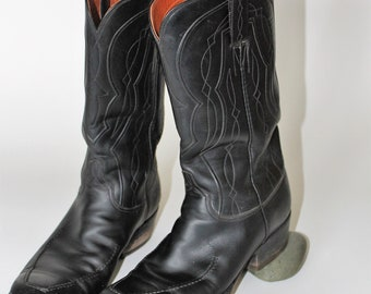 Vintage LUCCHESE Boots *1960's Black Leather Cowboy Boot *Rockabilly Biker Bad Boys *San Antonio Classic Western Wear -Men's 9