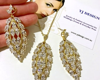 Marquise Bridal Jewelry Set, Gold Bridal Earrings, Cz Bridal Necklace, Statement Earrings, Marquise Necklace, Woodland Wedding, GRETEL