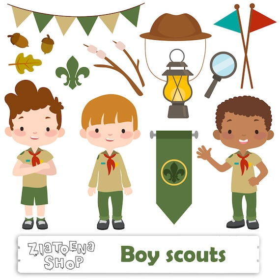 boy scout clipart scout boy clip art camping digital kids rh etsy com boy scout emblems clipart boy scout clipart png