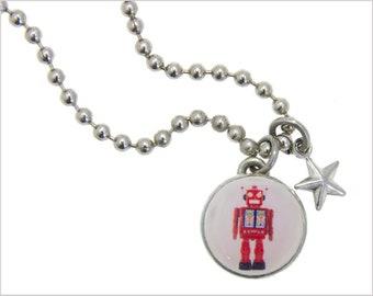 Robot charm, girls necklace,girls bracelet, kids necklace, kids bracelet, childrens jewelry,photo jewelry, interchangeable jewelry