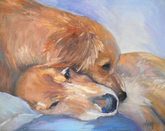 "Dog Painting, Golden Retriever Painting, 14x18 dog art, ""Puppy Love"" by Carol Schiff, Free Shipping in US"