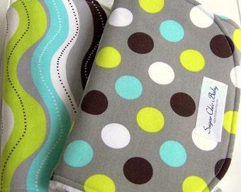 Burp Cloths for Baby Boy   -  Super Absorbent Triple Layer Chenille - Set of 2  -  Splendid  Dots & Stripes