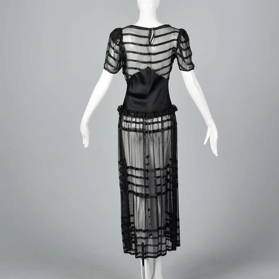 Old 30s Evening 1930s Summer Mesh Sheer Formal Vintage Stripe Gown Black Gown Glamour 1930s Elegant Hollywood BqxZwaxvU