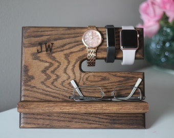 Personalized Docking Station Father's Day Oak Nightstand | Wooden Universal Phone Stand | Phone Charging Dock Phone Stand Dorm Graduation