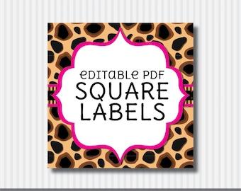 Editable PDF Printable - Cheetah Square Label / Sticker / Tags - DIY - Hot Pink Lining