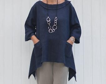 Plus Size Linen Tunic Top, Womens Plus Size Clothing, Lagenlook Clothing, Bohemian, Asymmetric, Plus Size Linen, Italian, 1X 2X 3X 4X 9447