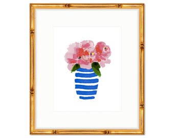 Floral Bouquet no. 2 -- Blue and White Floral Print -- Watercolor Print -- Home Decor