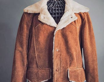 70's Western Suede Ranch Jacket - Kantex Leathers KT Brand - Shearling Sherpa Lined Coat - Made in USA - Mens Medium - Womens XL