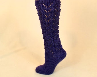Purple Leg Warmer Socks - Thick Slouch Sweater Socks - Slouchy Eggplant Sleep Socks - Knee High Bed Socks - Leg Warmers