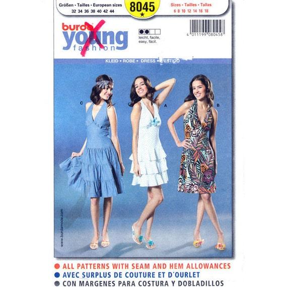 Halter Dress Pattern Burda 8045 Flounce Tiered Dress or Flared