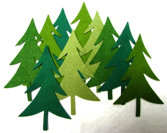 Uitgesneden, GROENBLIJVENDE bomen, DIY, wol blend vilt, Appliques, bomen, precisie sterven gesneden, tien tellen