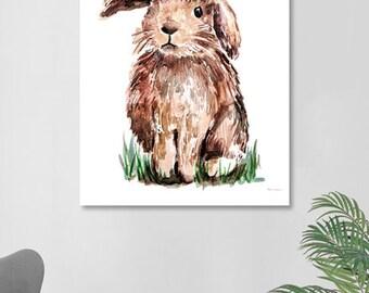Rabbit Print Wall Art Nursery Animal Decor Woodland Animal Forest Friends Bunny with Flower Crown Woodland Baby Shower Girls Room Decor