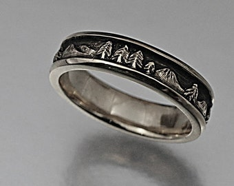 LANDSCAPE Wedding Band, 5.5mm wide, Handmade in Sterling Silver, Mountain band, Mountain ring