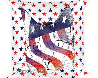 4th of July pillow, patriotic pillow, 4th of July decor, cat pillow