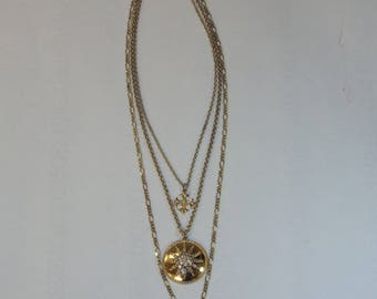 """R.J. Graziano """"Trinkets and Treasures"""" Crystal-Accented Goldtone 3-Layer 15-1/2"""" Dangle Necklace"""