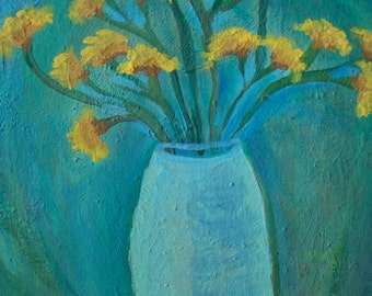 Original Modern Art Floral Painting, Yellow Statice""