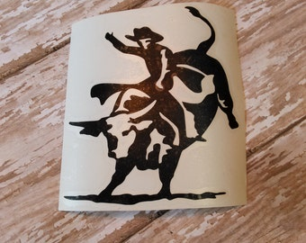 Bull Rider Vinyl Decal   Rodeo Decal   Bull Decal   Country Decal   Car Decal   Laptop Decal   Notebook Decal   Mirror Decal   Vinyl Decal