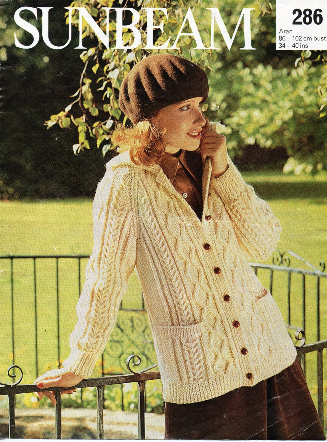 Womens Knitting Pattern Womens Aran Jacket with Pockets &