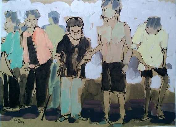 """CAN THO STREETS 15x11.5"""" gouache on paper, live painting, Cần Thơ Province, original by Nguyen Ly Phuong Ngoc"""