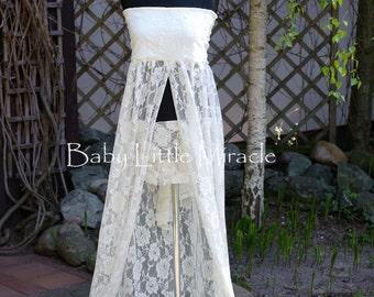 Pamela Ivory Lace Maternity Dress, Maternity Gown, Maternity Photo Props, Lace train,Maternity Gown Props,baby shower