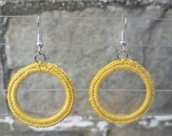 Crochet Earrings- Yellow Earrings- Small Crochet Classic Hoop Earrings - Yellow