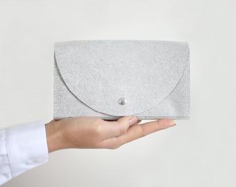 Clutch Wallet Silver, Leather Clutch, Secretary Wallet, Big Leather Wallet