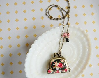 90's inspired black floral pattern mini coin purse necklace- bow detail- black and pink
