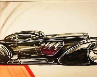 Custom Car Painting. Dusenberg. Automotive enthusiasts. Fathers day. Man cave decor. Garage decor. Hot rod art. Street art. Boys room.