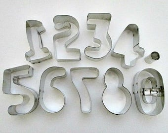 Fox Run Number Cookie Cutters - Number 1 to 0 Cookie Cutters - Baking Baker Bakery Supply
