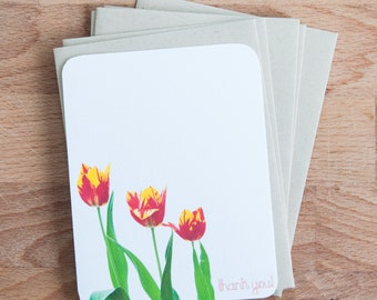 Stationary Set - Red Tulips - Personalized Stationery - Easter Gift