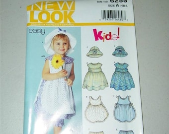 New Look 6255 Toddler Dress Pinafore Bloomer Hat Pattern Girl Size Baby 12675