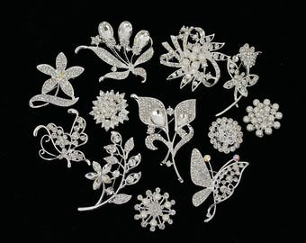 12 PC Wholesale Bulk Mixed Silver Rhinestone Crystal Brooch - Assorted Bridal Wedding Bouquet Brooches - Quince Bouquet Brooches (Sm/Med)