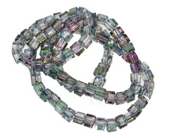 3mm Square AB Color Transparent Faceted Glass Bead Strand (B232e)