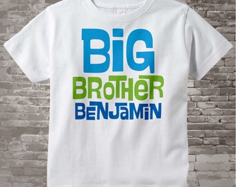 Big Brother Shirt Personalized Infant, Toddler or Youth Tee Shirt Blue and Green Text t-shirt or Onesie 06142012a
