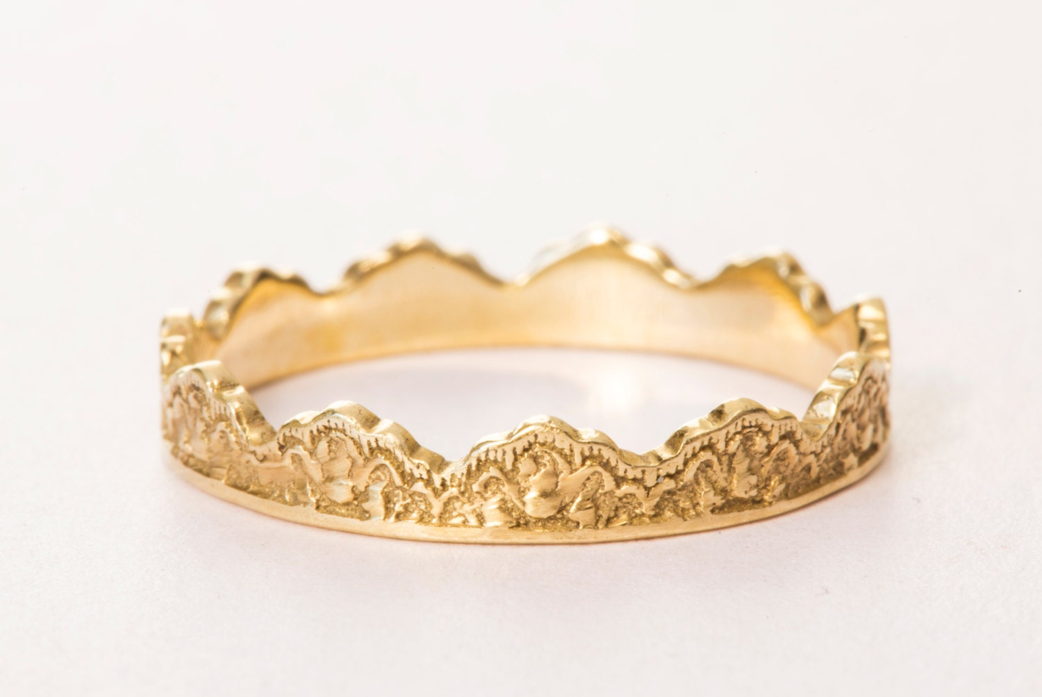 14K Gold Crown Ring Lace Crown Ring Yellow Gold Crown Band