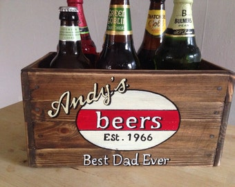 Beer crate  ale lager cider  birthday valentines anniversary hamper gift personalised retro style hand crafted a gift he will love